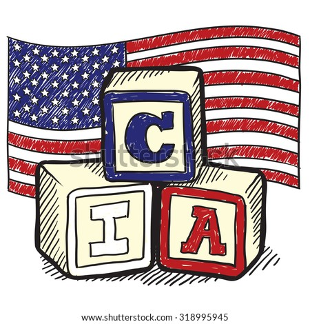 "Hand drawn vector sketch in doodle style of an American flag with children's block spelling ""CIA"" to indicate patriotism, social commentary, or a political position."