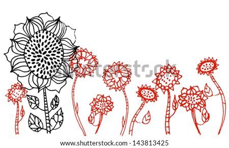 Hand Drawn Vector Sun Flowers - stock vector