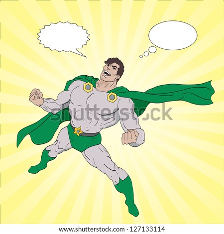 Hand drawn vector superhero