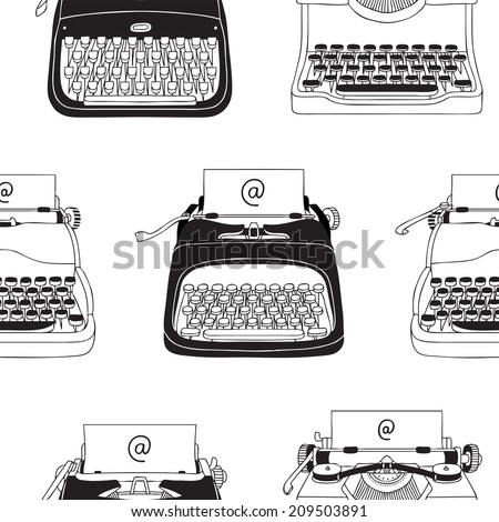 Hand Drawn Vector Typewriter Background - stock vector