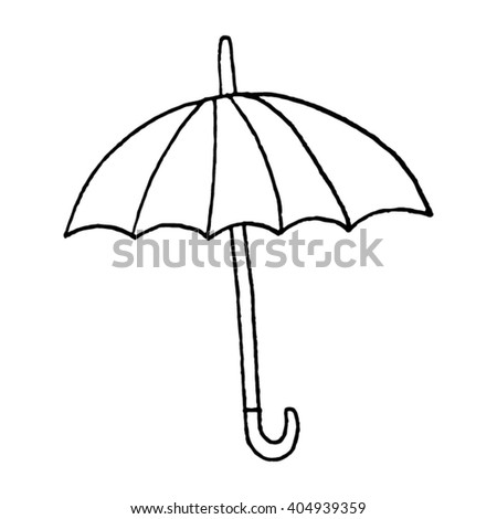 Hand drawn vector umbrella on a white background