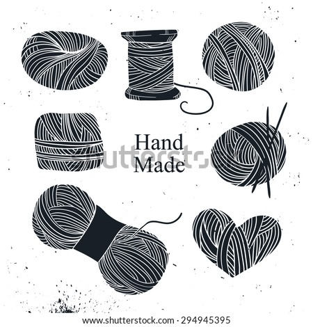 Hand drawn vector vintage illustration - Set of knitting. Yarn and knitting needles - stock vector
