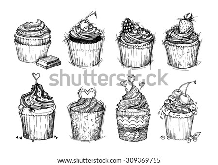 Hand drawn vector vintage illustration - Sweet cupcakes with chocolate, berries and cream. Isolated on white background. Mega set - stock vector