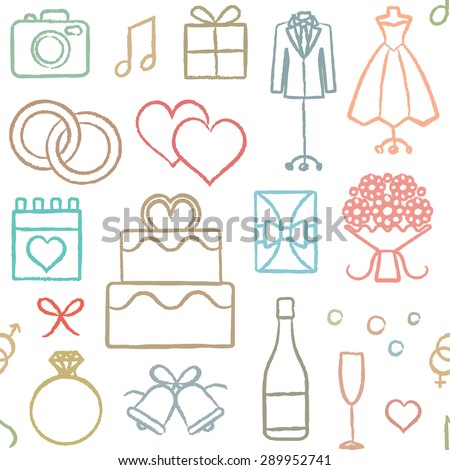 Hand drawn vector wedding related seamless pattern background