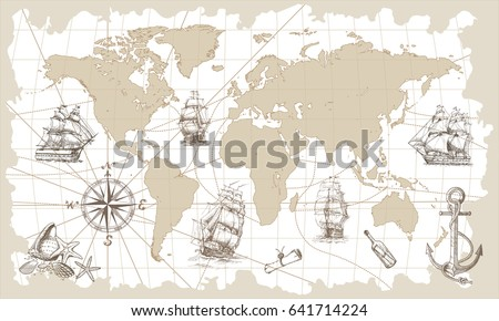 Hand drawn vector world map compass stock photo photo vector hand drawn vector world map with compass anchor and sailing ships in vintage style gumiabroncs