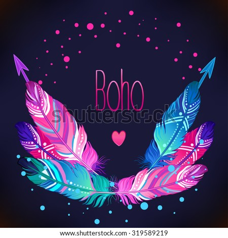 Hand drawn vector wreath with painted bird feathers and arrows isolated on black background. Colorful set for your design. Trendy boho style patterned elements, sketch, tribal template. - stock vector
