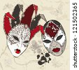 Hand Drawn Venetian  carnival masks. Vector background. - stock photo