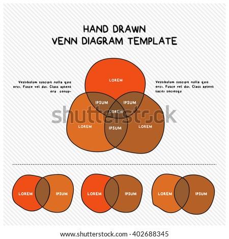 Hand Drawn Venn Diagram Template - stock vector