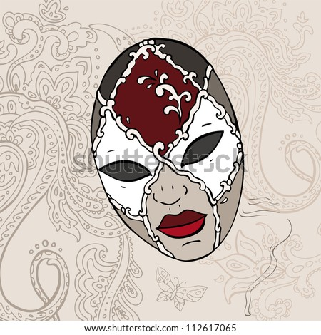 Hand Drawn Vientiane  carnival mask. Vector background.