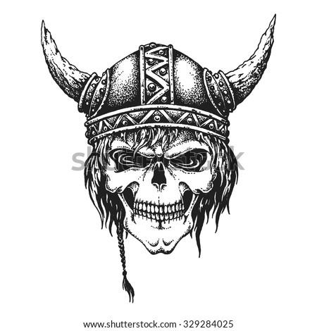 Hand drawn Viking skull in horned helmet. Vector illustration - stock vector