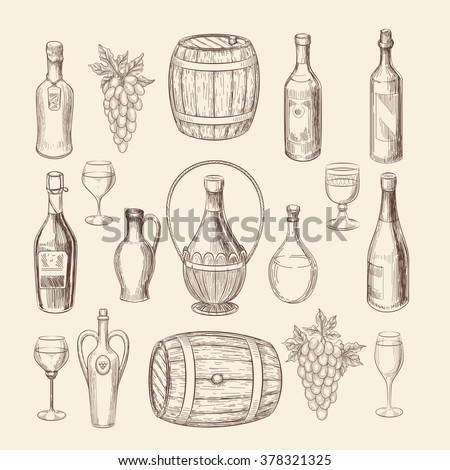 Hand drawn vineyard sketch and doodle wine vector elements. Vineyard doodle and grape hand drawn, wine alcohol illustration - stock vector