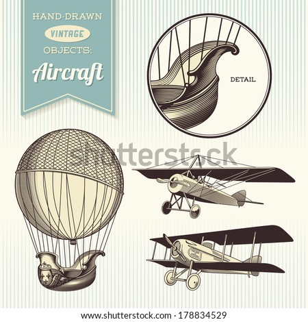 hand-drawn vintage aircraft illustrations - hot air balloon, airplane and biplane - stock vector
