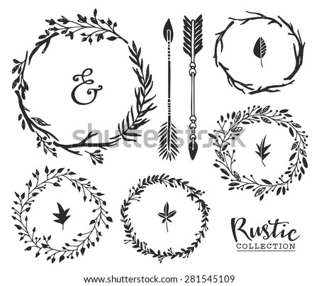 Hand drawn vintage ampersand, arrows and wreaths. Rustic decorative vector design set. - stock vector