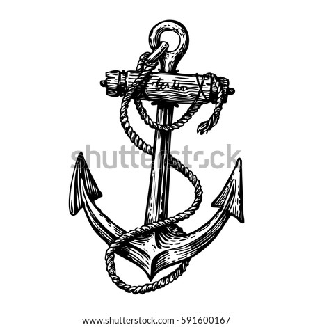 Hand Drawn Vintage Anchor With Rope Sketch Travel Discovery Cruise Symbol