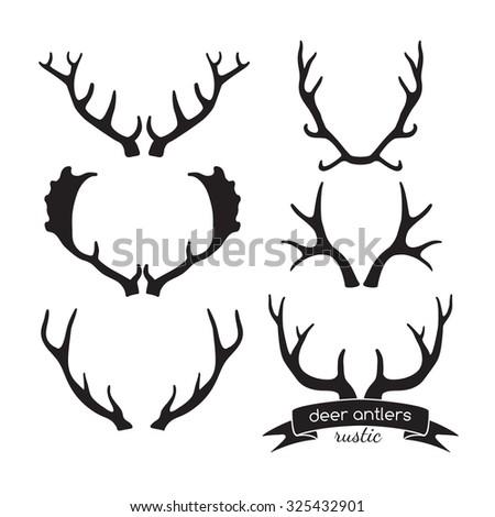 Hand drawn vintage antlers. Rustic decorative vector design elements. - stock vector
