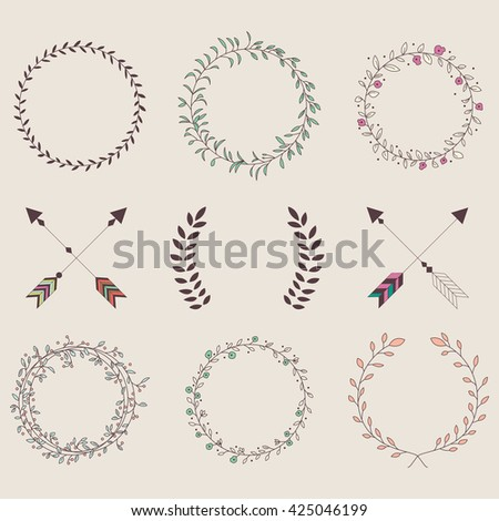 Hand drawn vintage arrows, feathers, dividers and floral elements, vector illustration - stock vector