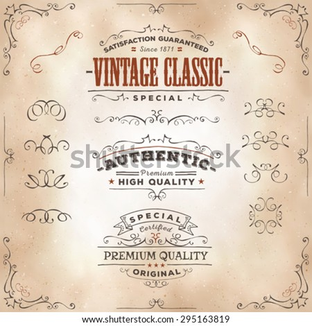 Hand Drawn Vintage Banners And Ribbons/ Illustration of a set of hand drawn frames, sketched banners, floral patterns, ribbons, and graphic design elements on vintage old paper background - stock vector