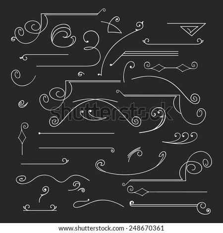 Hand-drawn vintage calligraphic  design elements set vector. Useful for wedding invitations, greatings cards etc. - stock vector