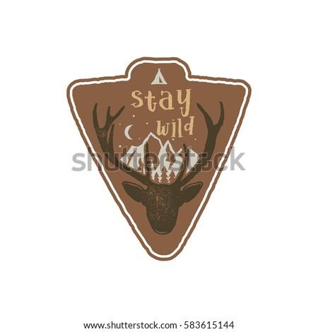 hand drawn vintage camping badge hiking stock vector 583615144