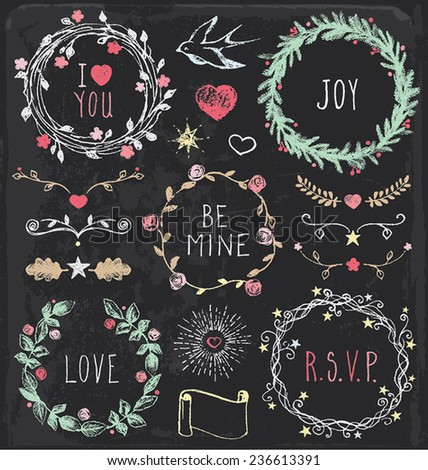 Hand Drawn Vintage Chalkboard Festive Wreaths and Elements to embellish your layout. - stock vector