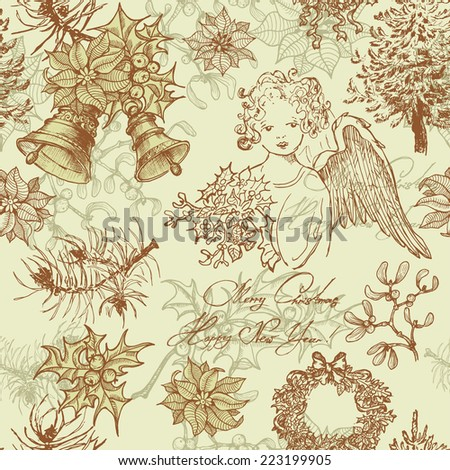 Hand drawn vintage Christmas seamless pattern.  All objects are conveniently grouped  and are easily editable. - stock vector