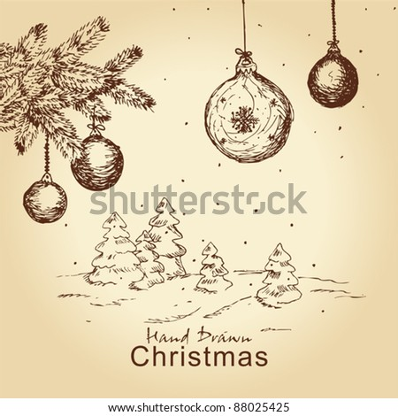 hand drawn vintage christmas set with fir branches, trees and balls, for xmas design - stock vector