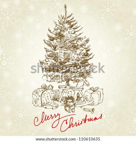hand drawn vintage christmas tree - stock vector