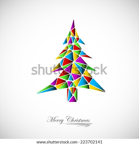 hand drawn vintage christmas tree - stock vector