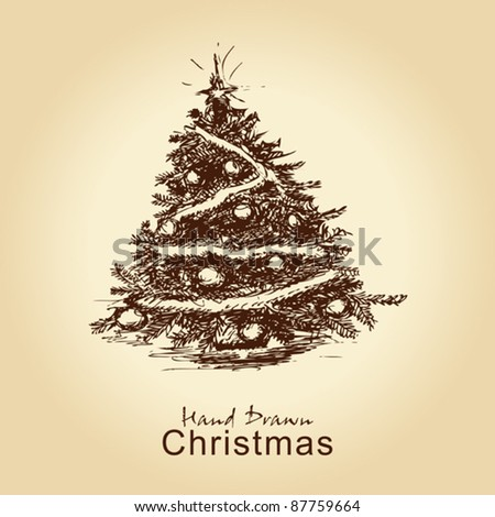 hand drawn vintage christmas tree for xmas design, with balls - stock vector