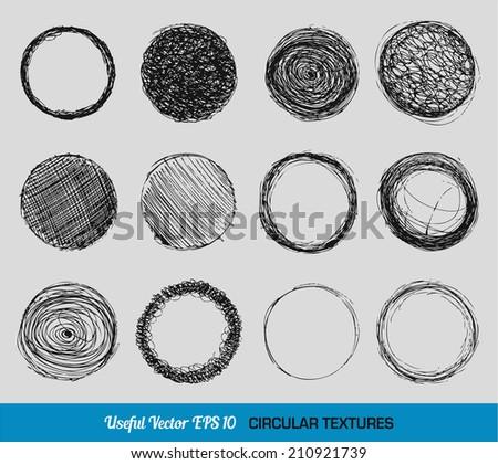 Hand drawn vintage circular textures set - stock vector