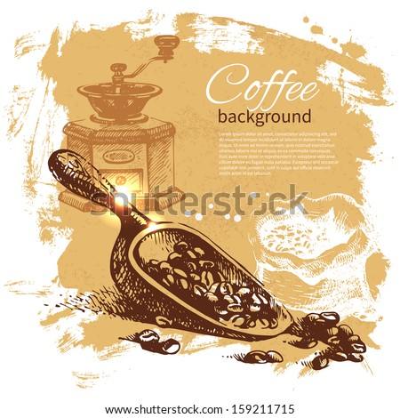 Hand drawn vintage coffee background - stock vector