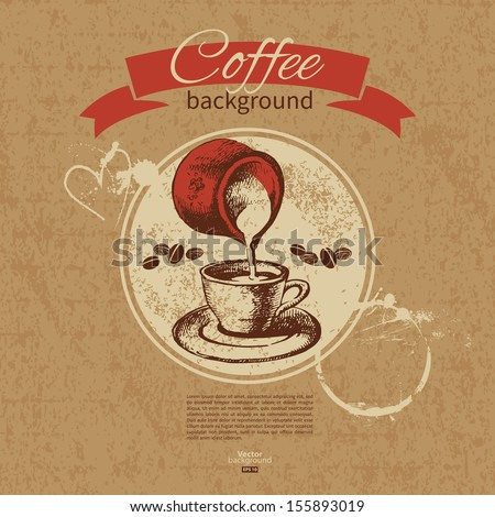 Hand drawn vintage coffee background. Menu for restaurant, cafe, bar, coffeehouse  - stock vector