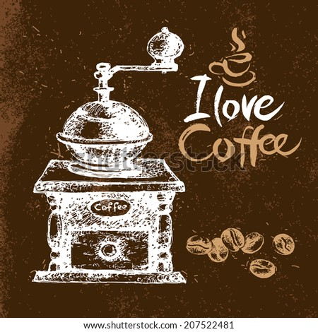 Hand drawn vintage coffee background. Sketch vector illustration. Menu design. Typographic poster