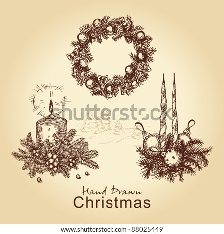 hand drawn vintage collection with christmas wreath, balls, tree and candles, for xmas design - stock vector