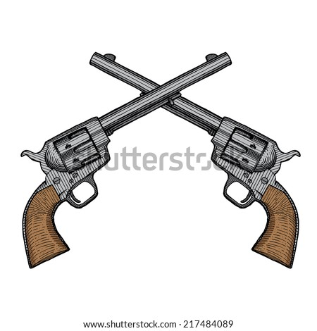 Hand Drawn Vintage Crossed Handguns - stock vector