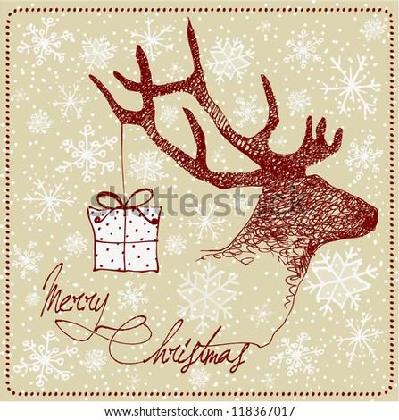 Hand Drawn Vintage Deer Christmas Card Stock Vector 118367017 ...