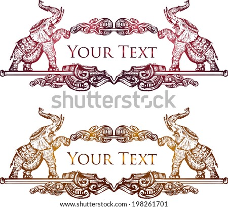 Hand drawn Vintage elephant banner 5 - stock vector