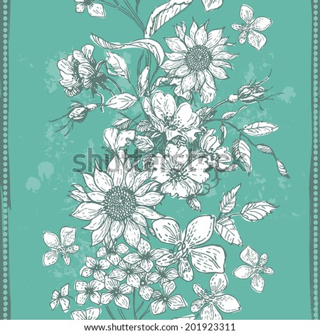 Hand drawn vintage flora vertical seamless background in fresh tones. Objects are conveniently grouped on different layers and are easily editable - stock vector