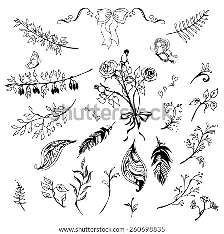 Hand Drawn vintage floral elements. Set of flowers, arrows, icons and decorative elements. Vector illustration. - stock vector