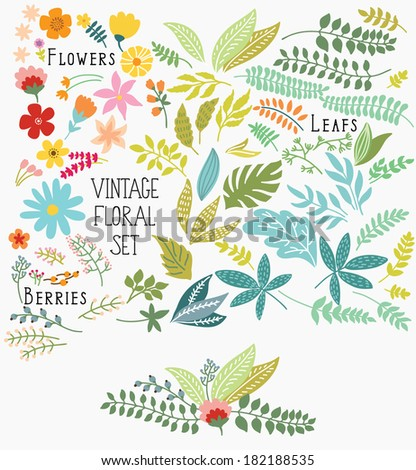 Hand Drawn vintage floral elements. Set of flowers. You can make your vintage floral bouquet! - stock vector