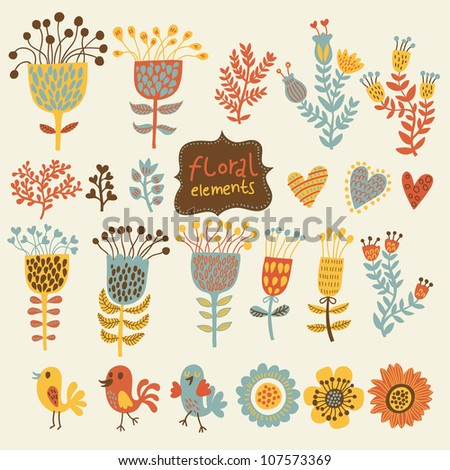 Hand Drawn vintage floral elements with birds. Set of flowers. - stock vector