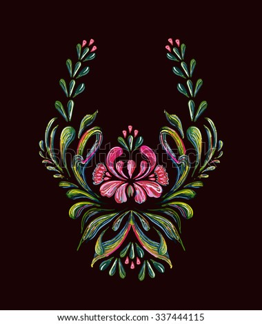Hand drawn vintage floral ornament on a black background.  Illustration in folk style. Beautiful vector border with  pink flowers in vintage style. Vector floral background. - stock vector
