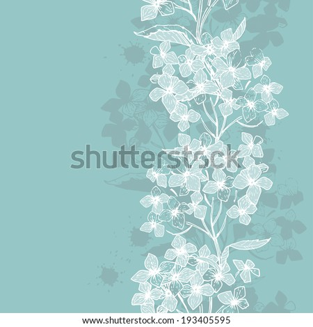 Hand  drawn  vintage floral vertical seamless border. All objects are conveniently grouped and are easily editable. - stock vector