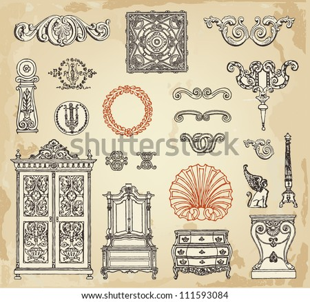 Hand Drawn Vintage Furniture Decor Details Stock Vector 111593084