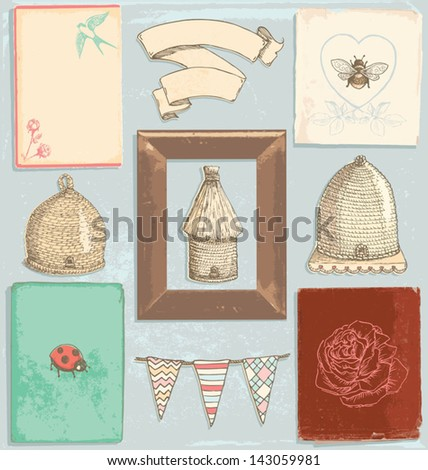 Hand Drawn Vintage Garden Elements Vector Set. Color fills are grouped separately from outlines for easy editing. - stock vector