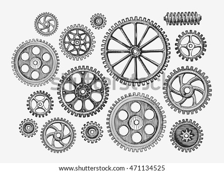 Hand-drawn vintage gears, cogwheel. Sketch mechanism, industry. Vector illustration