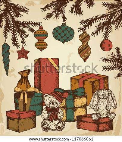 Hand drawn vintage gifts - stock vector