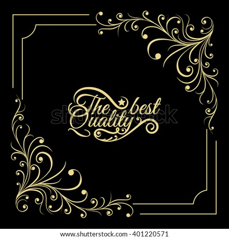 Hand drawn vintage gold thin frame made in vector. Unique ornamental decorative cover for greeting card, wedding invitation, save the date with space for your text. Sketchy border collection - stock vector