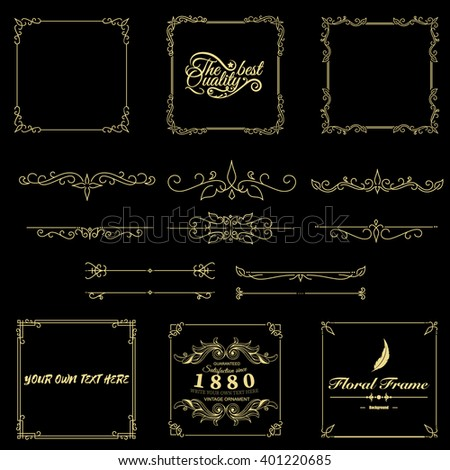 Hand drawn vintage gold thin frames made in vector. Unique ornamental decorative covers for greeting card, wedding invitation, save the date with space for your text. Sketchy borders set (pack) - stock vector