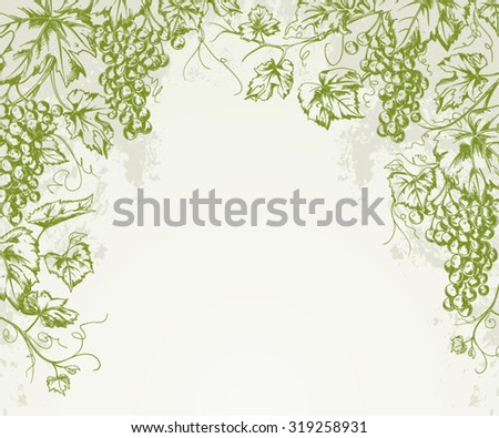 Hand drawn Vintage grapevine corner background isolated on textured paper  - stock vector